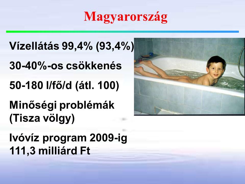 Magyarország Vízellátás 99,4% (93,4%) 30-40%-os csökkenés