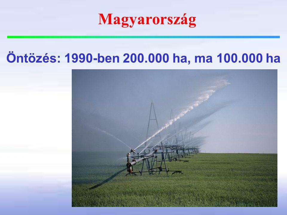 Magyarország Öntözés: 1990-ben 200.000 ha, ma 100.000 ha