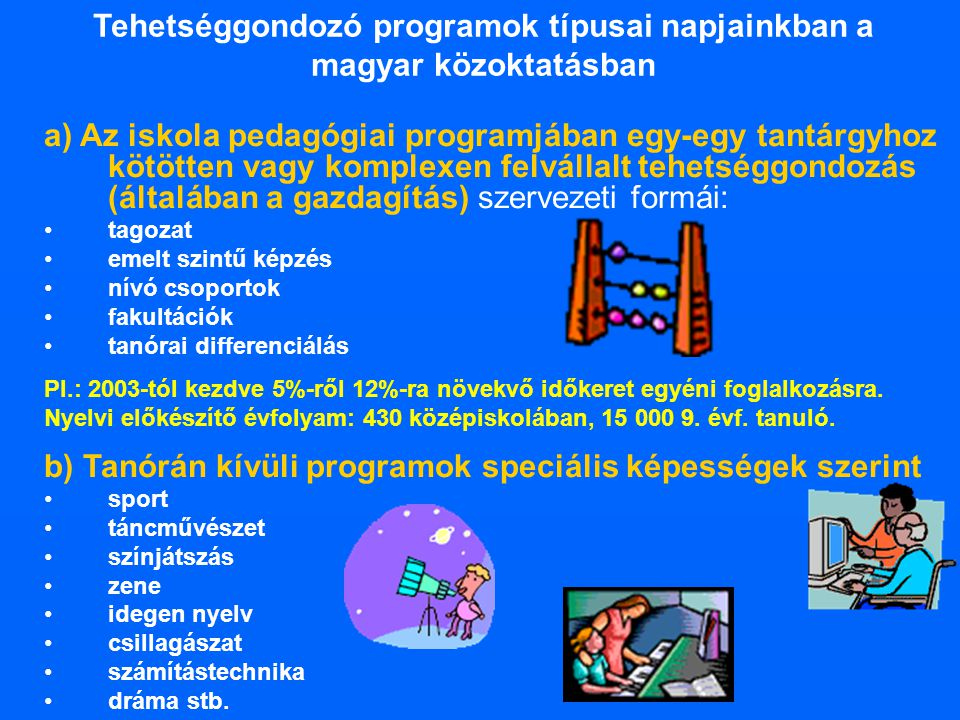Tehetséggondozó programok típusai napjainkban a magyar közoktatásban