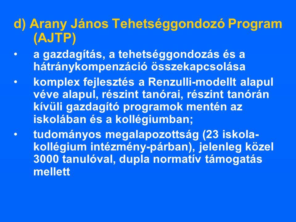 d) Arany János Tehetséggondozó Program (AJTP)