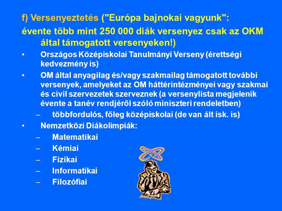 f) Versenyeztetés ( Európa bajnokai vagyunk :
