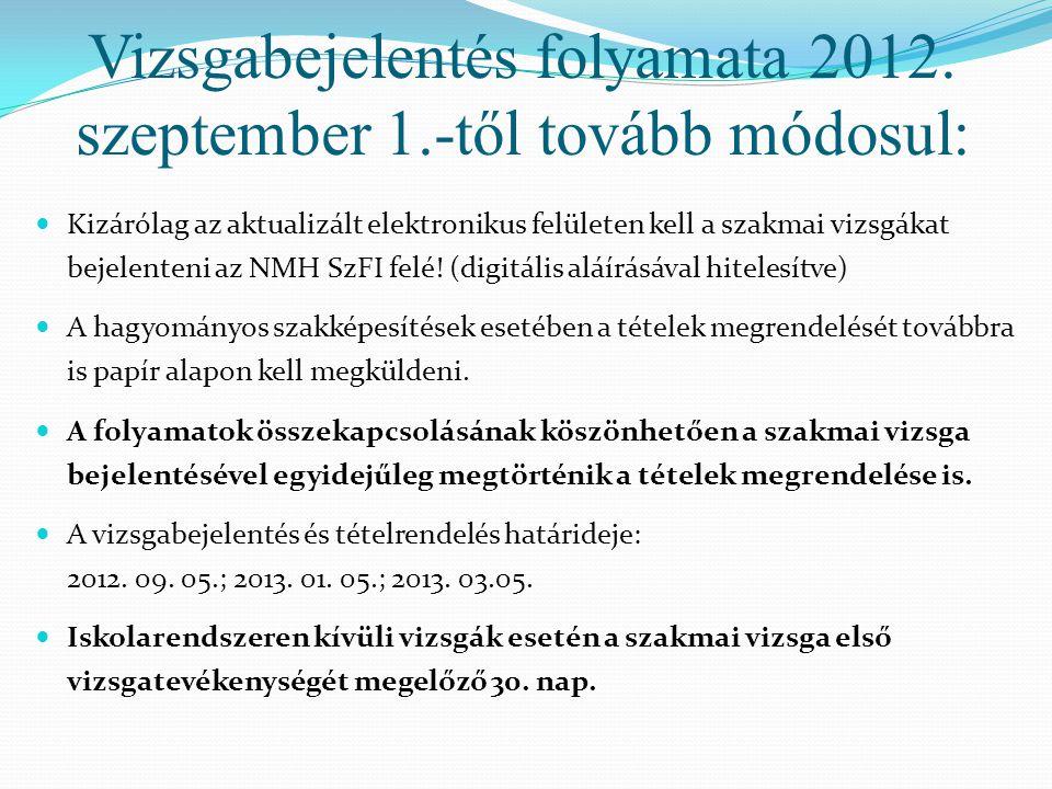 Vizsgabejelentés folyamata 2012. szeptember 1.-től tovább módosul: