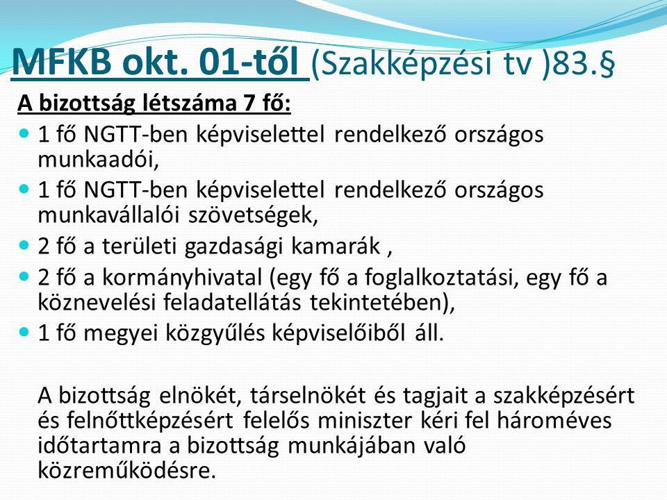 MFKB okt. 01-től (Szakképzési tv )83.§