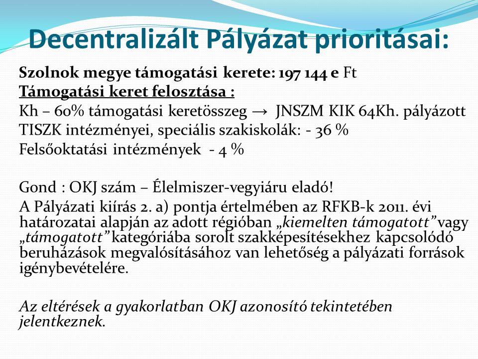 Decentralizált Pályázat prioritásai: