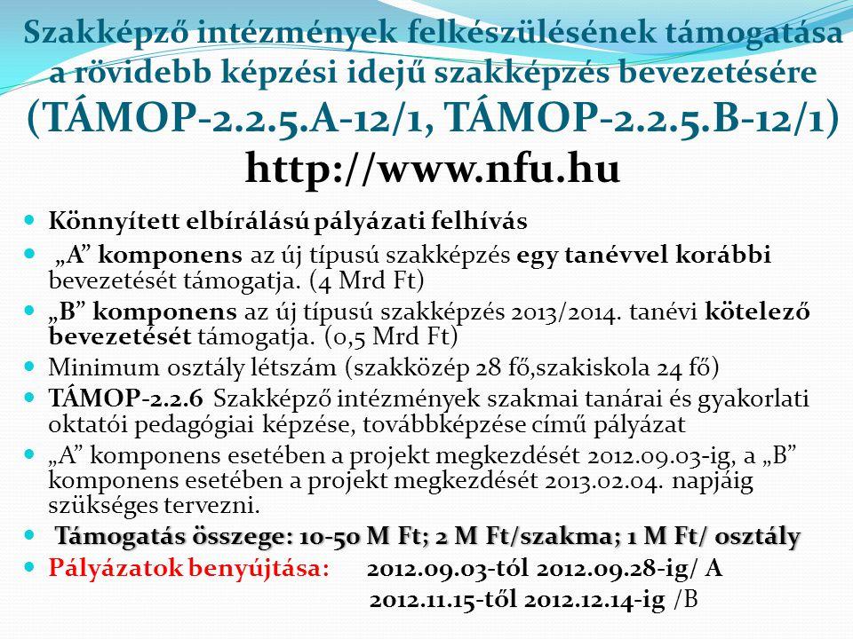 Szakképző intézmények felkészülésének támogatása a rövidebb képzési idejű szakképzés bevezetésére (TÁMOP-2.2.5.A-12/1, TÁMOP-2.2.5.B-12/1) http://www.nfu.hu