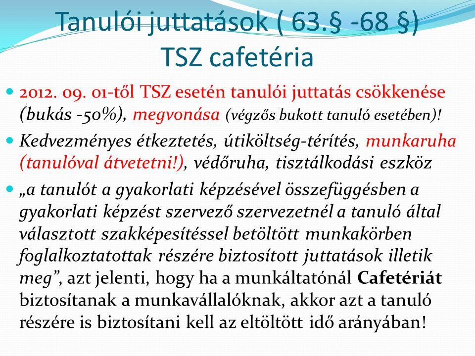 Tanulói juttatások ( 63.§ -68 §) TSZ cafetéria