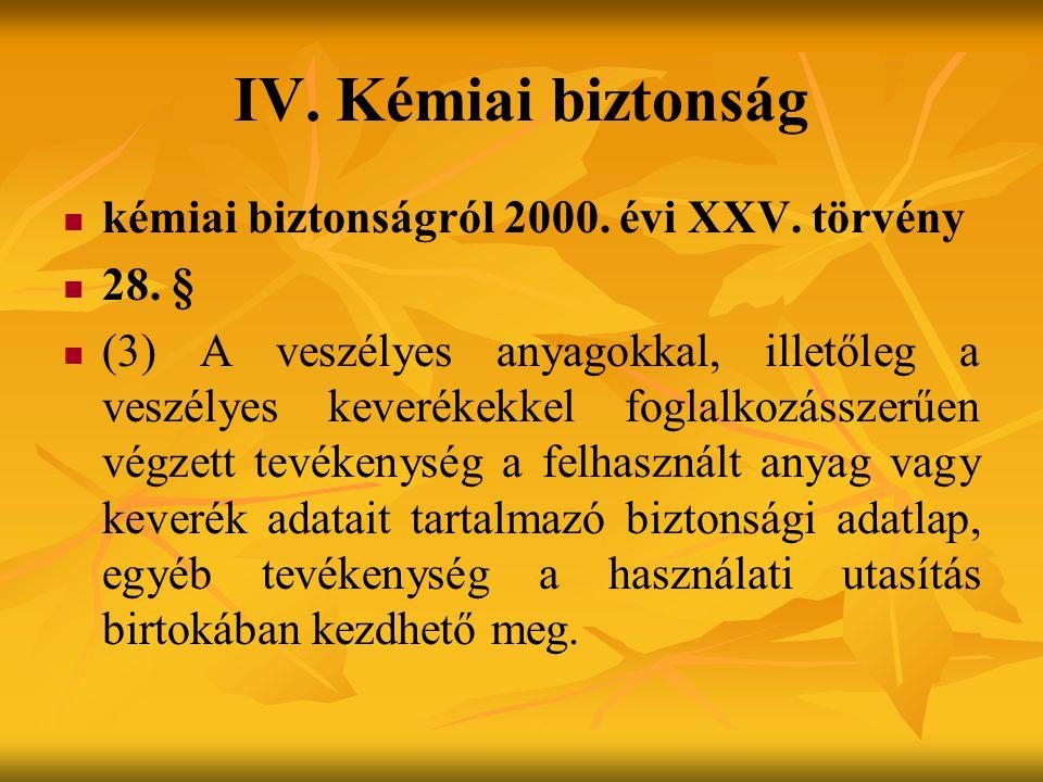 IV. Kémiai biztonság kémiai biztonságról 2000. évi XXV. törvény 28. §