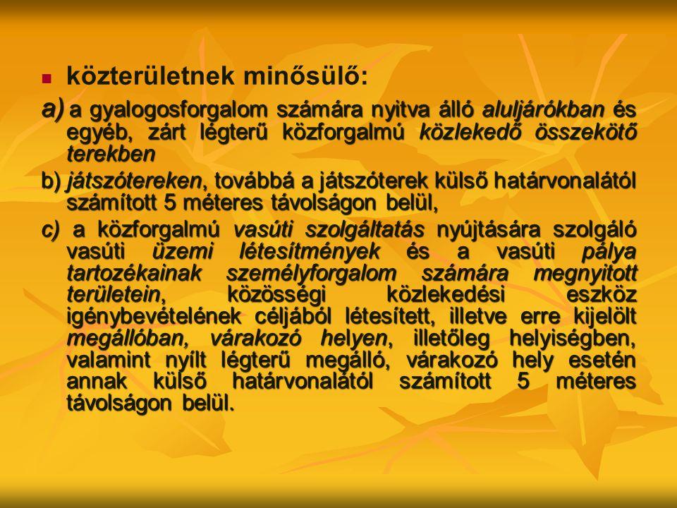 közterületnek minősülő: