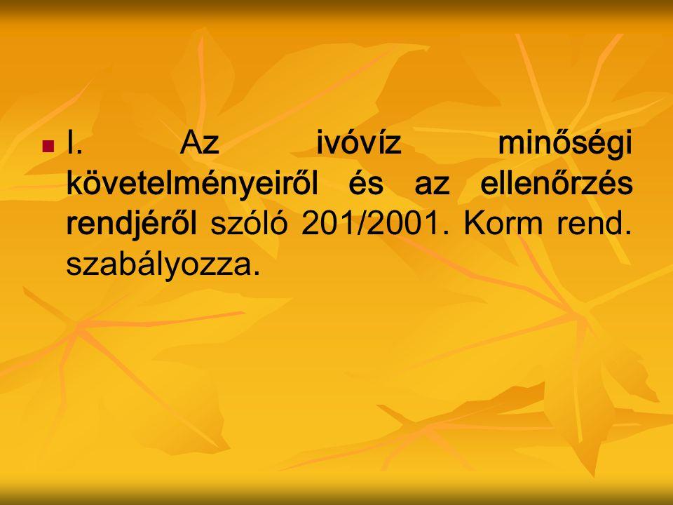 I. Az ivóvíz minőségi követelményeiről és az ellenőrzés rendjéről szóló 201/2001.
