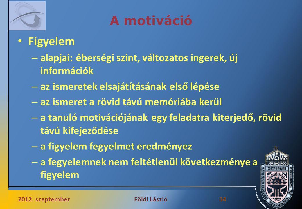 A motiváció Figyelem. alapjai: éberségi szint, változatos ingerek, új információk. az ismeretek elsajátításának első lépése.