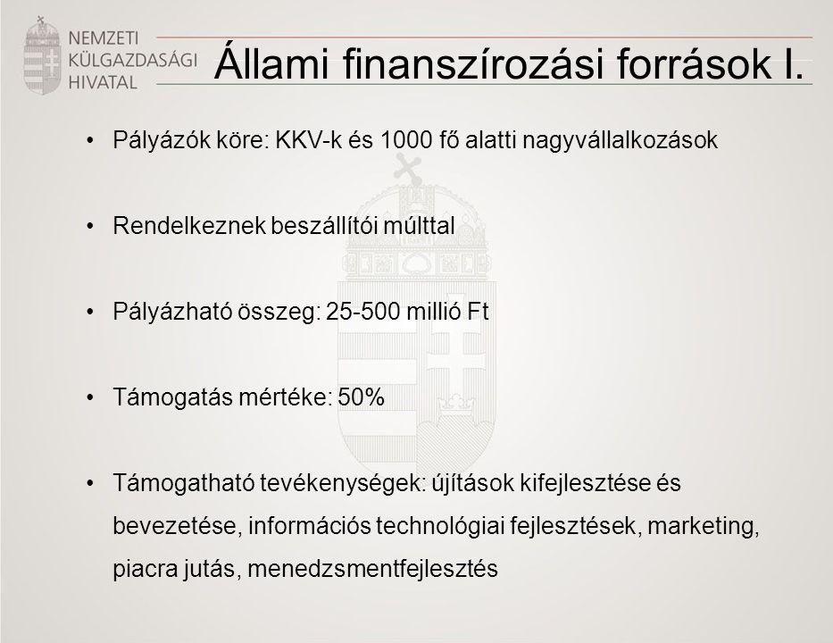 Állami finanszírozási források I.