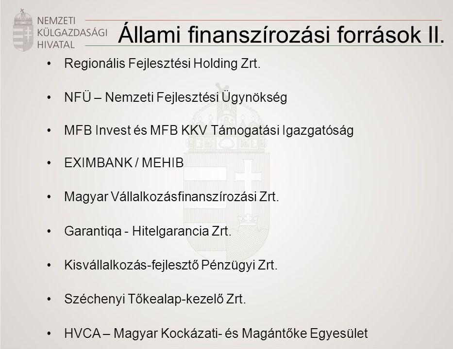 Állami finanszírozási források II.