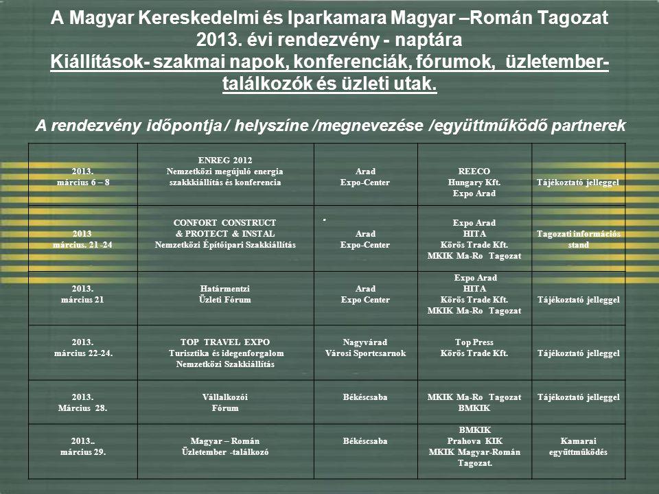 A Magyar Kereskedelmi és Iparkamara Magyar –Román Tagozat 2013