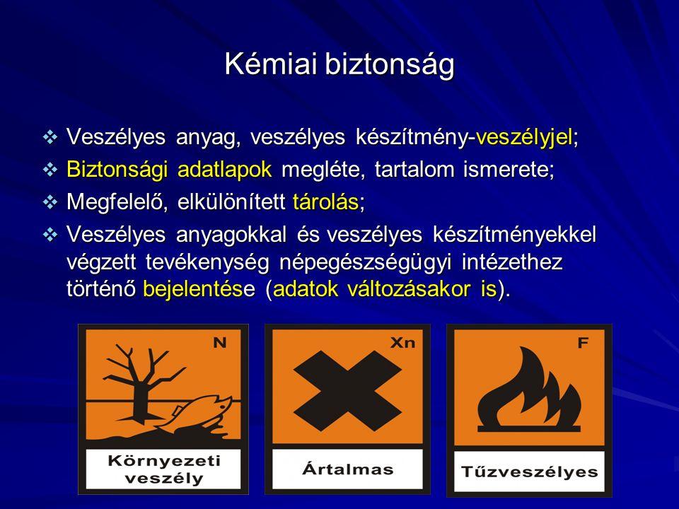 Kémiai biztonság Veszélyes anyag, veszélyes készítmény-veszélyjel;
