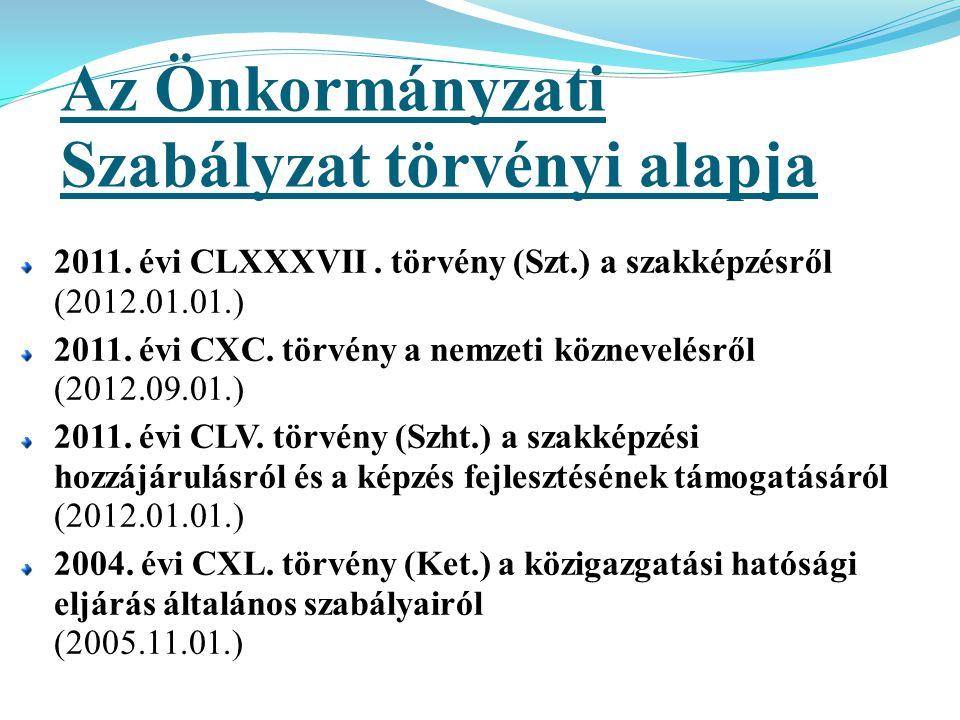 Az Önkormányzati Szabályzat törvényi alapja