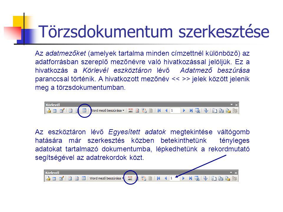 Törzsdokumentum szerkesztése
