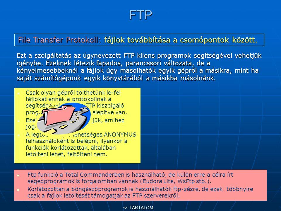 File Transfer Protokoll: fájlok továbbítása a csomópontok között.