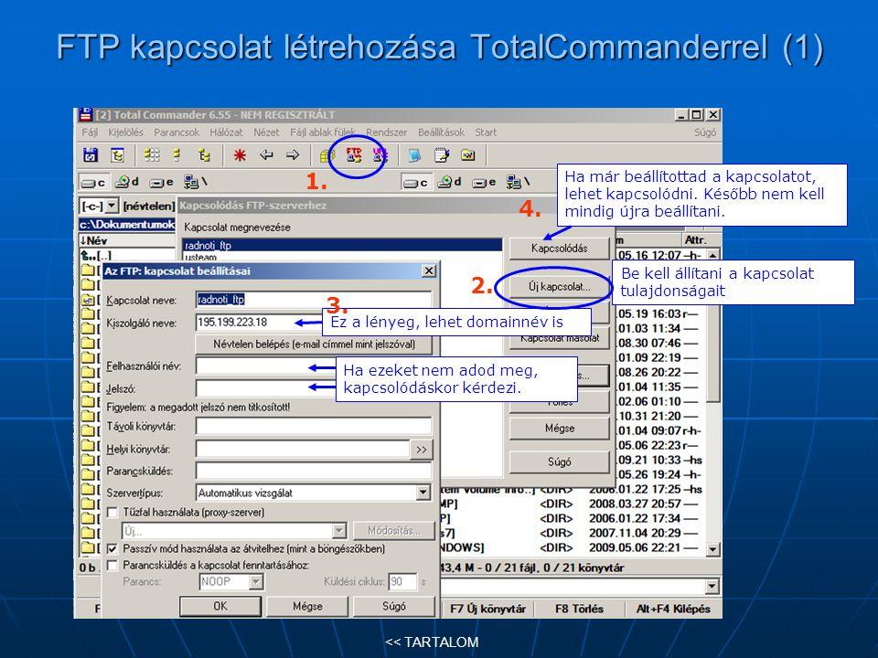FTP kapcsolat létrehozása TotalCommanderrel (1)