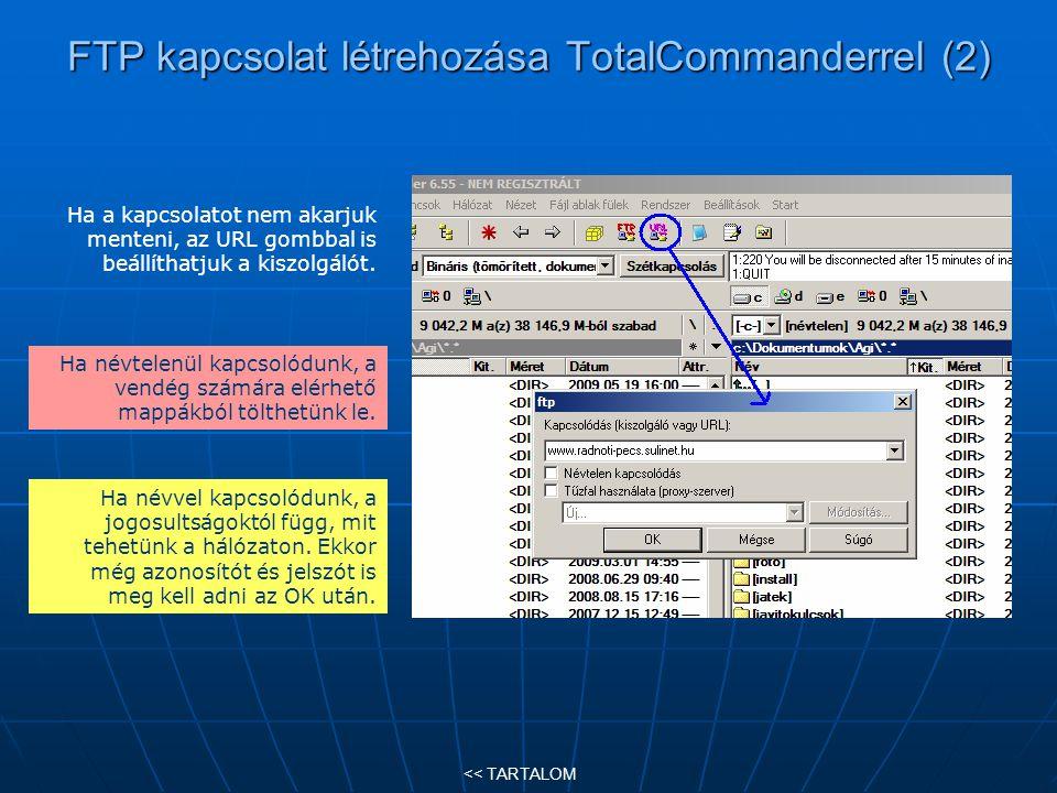 FTP kapcsolat létrehozása TotalCommanderrel (2)