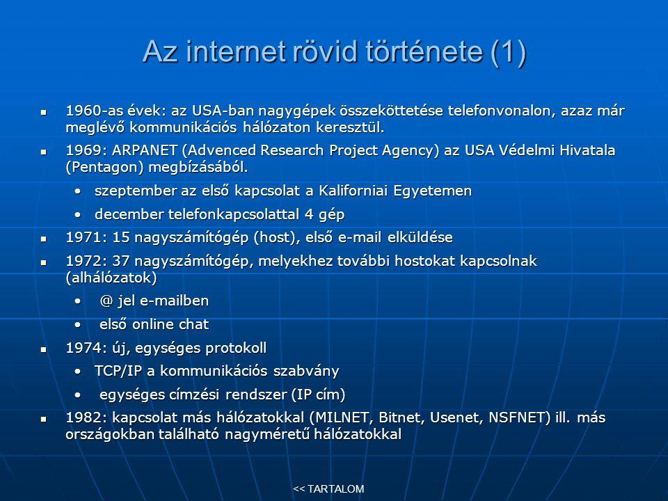 Az internet rövid története (1)
