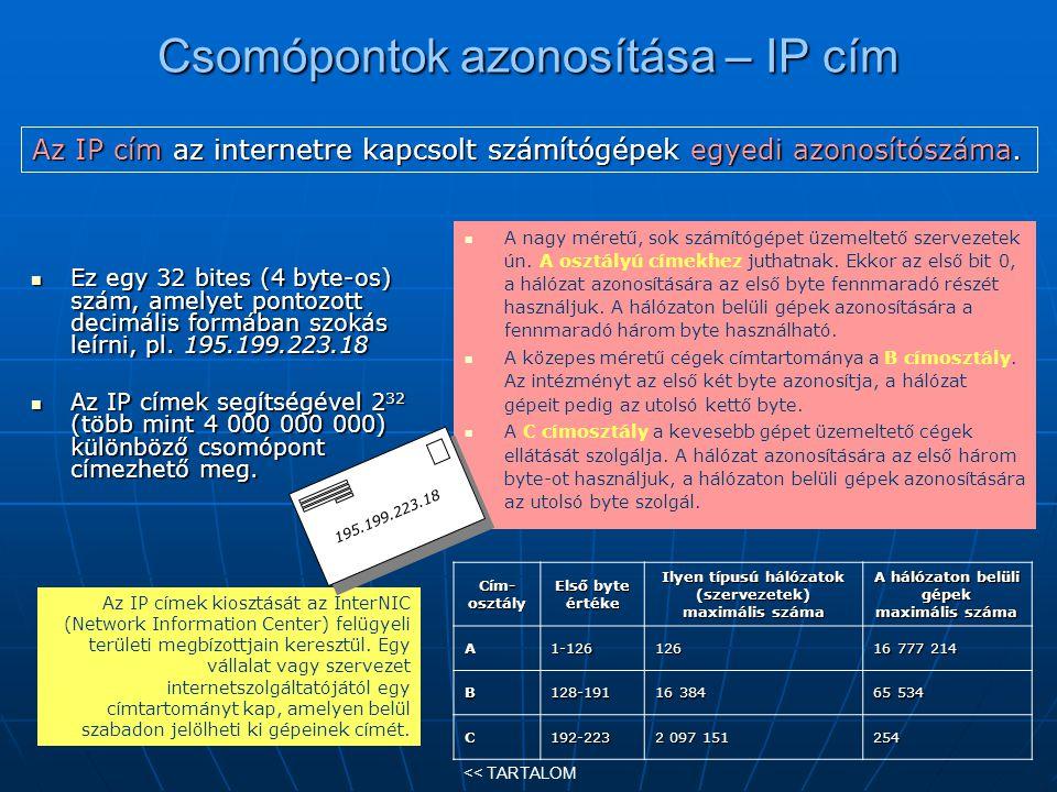 Csomópontok azonosítása – IP cím