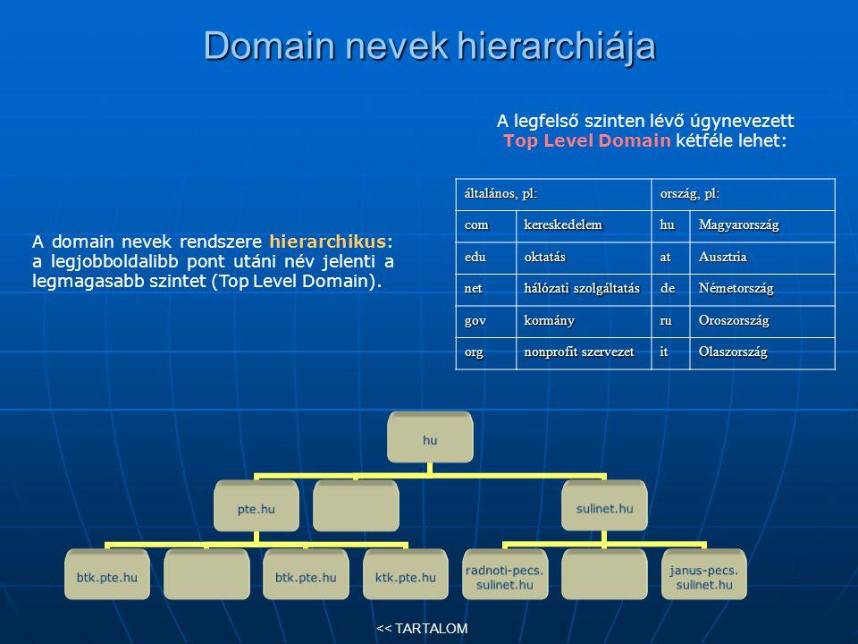 Domain nevek hierarchiája