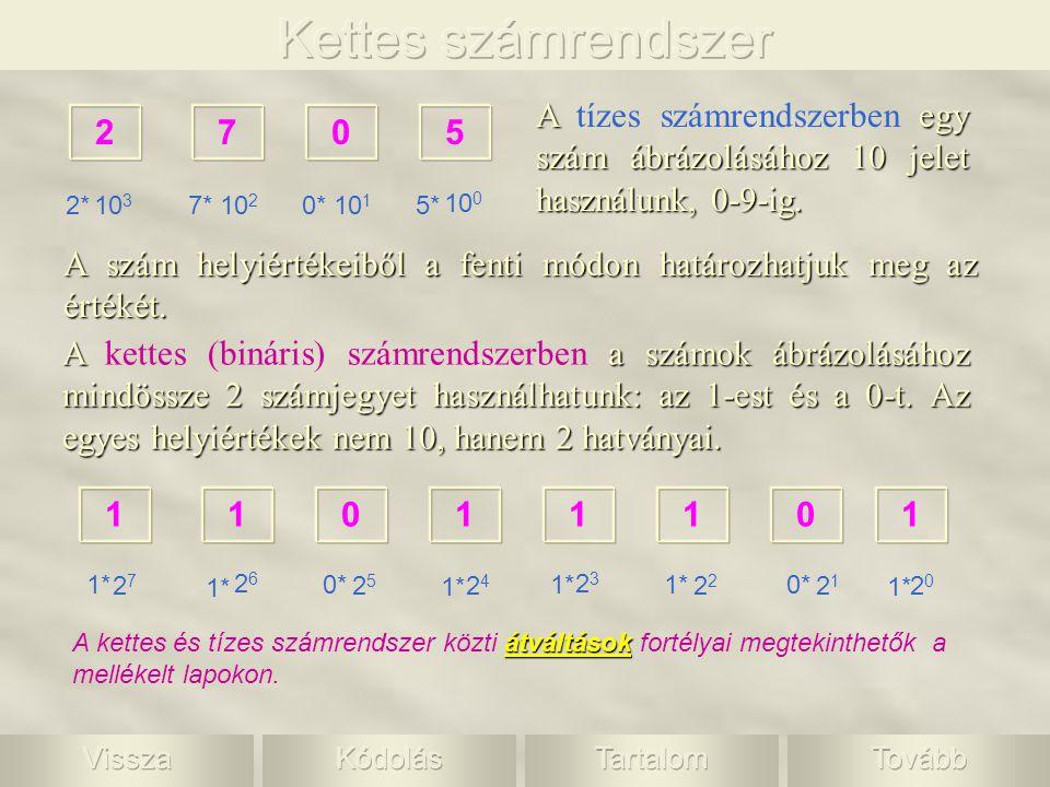 Kettes számrendszer A tízes számrendszerben egy szám ábrázolásához 10 jelet használunk, 0-9-ig. 2.