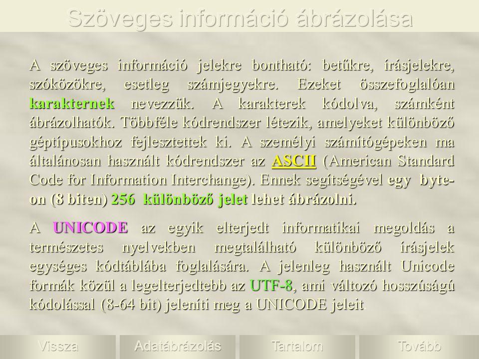 Szöveges információ ábrázolása