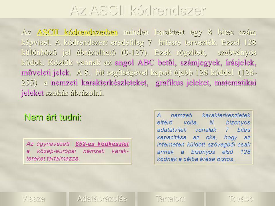 Az ASCII kódrendszer Nem árt tudni: