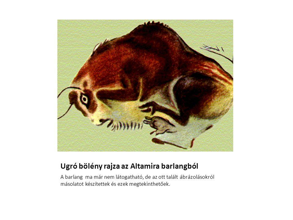 Ugró bölény rajza az Altamira barlangból