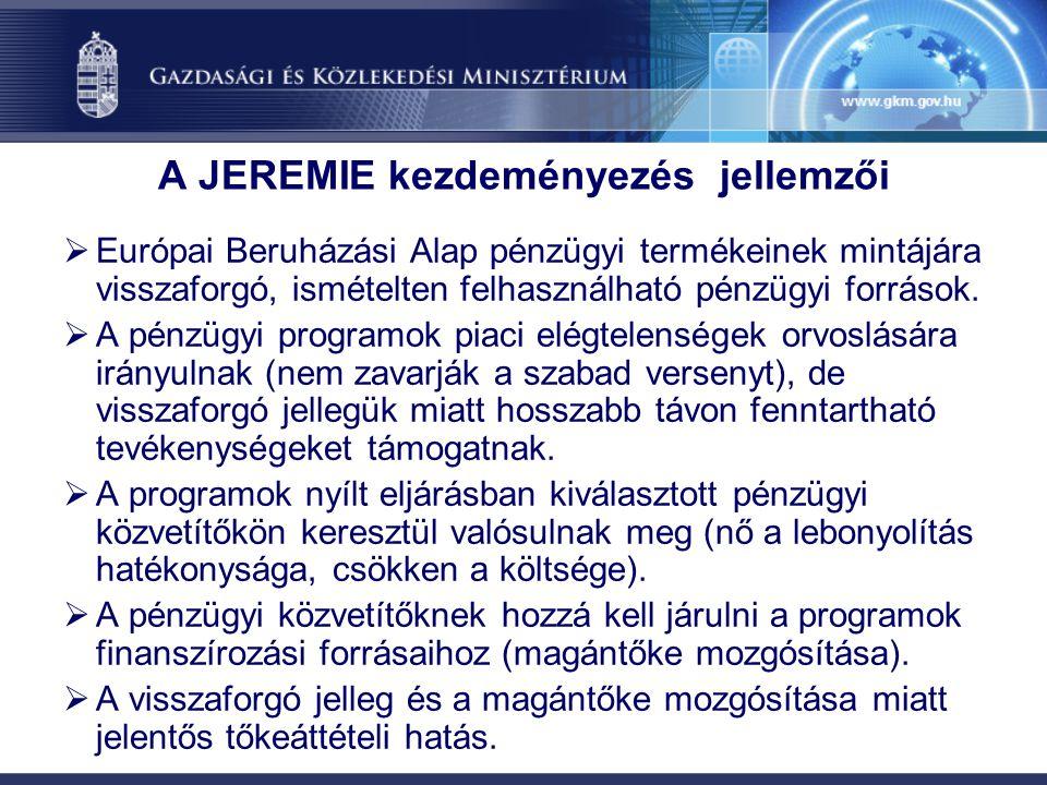 A JEREMIE kezdeményezés jellemzői
