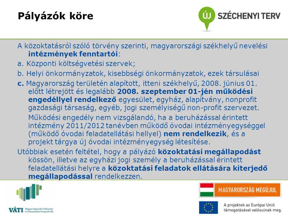 Pályázók köre A közoktatásról szóló törvény szerinti, magyarországi székhelyű nevelési intézmények fenntartói: