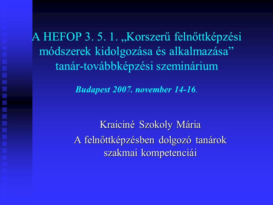 """A HEFOP 3. 5. 1. """"Korszerű felnőttképzési módszerek kidolgozása és alkalmazása tanár-továbbképzési szeminárium Budapest 2007. november 14-16."""