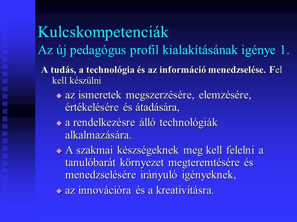 Kulcskompetenciák Az új pedagógus profil kialakításának igénye 1.