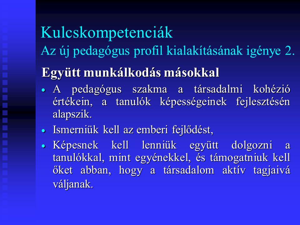 Kulcskompetenciák Az új pedagógus profil kialakításának igénye 2.