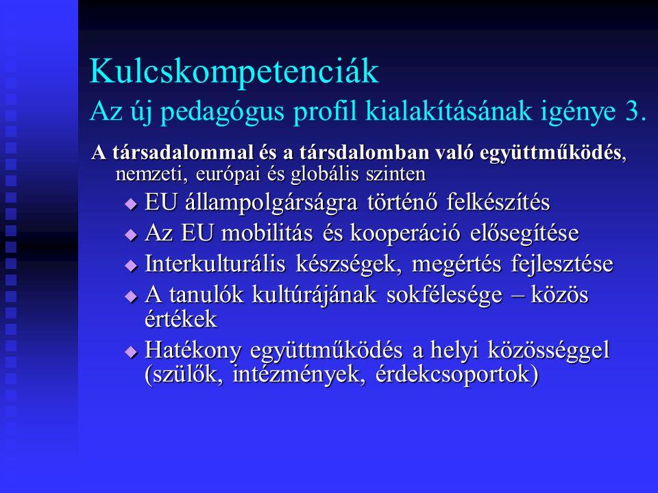 Kulcskompetenciák Az új pedagógus profil kialakításának igénye 3.