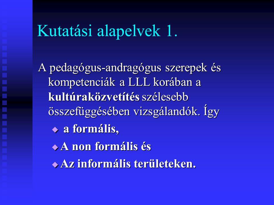 Kutatási alapelvek 1. A pedagógus-andragógus szerepek és kompetenciák a LLL korában a kultúraközvetítés szélesebb összefüggésében vizsgálandók. Így.
