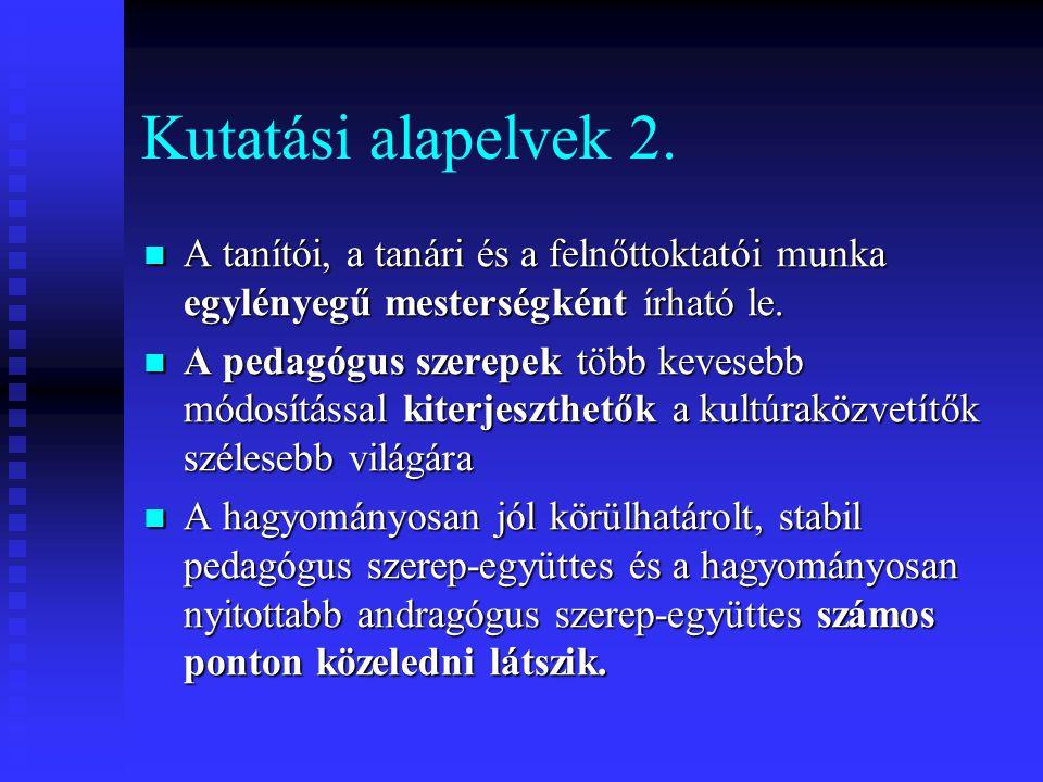 Kutatási alapelvek 2. A tanítói, a tanári és a felnőttoktatói munka egylényegű mesterségként írható le.