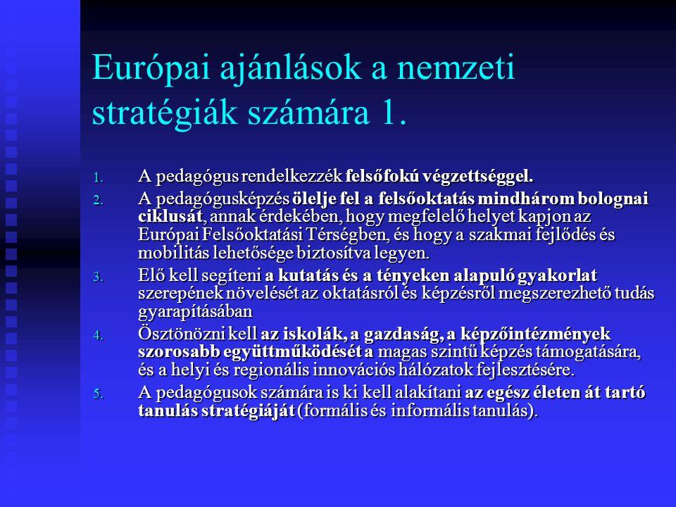 Európai ajánlások a nemzeti stratégiák számára 1.