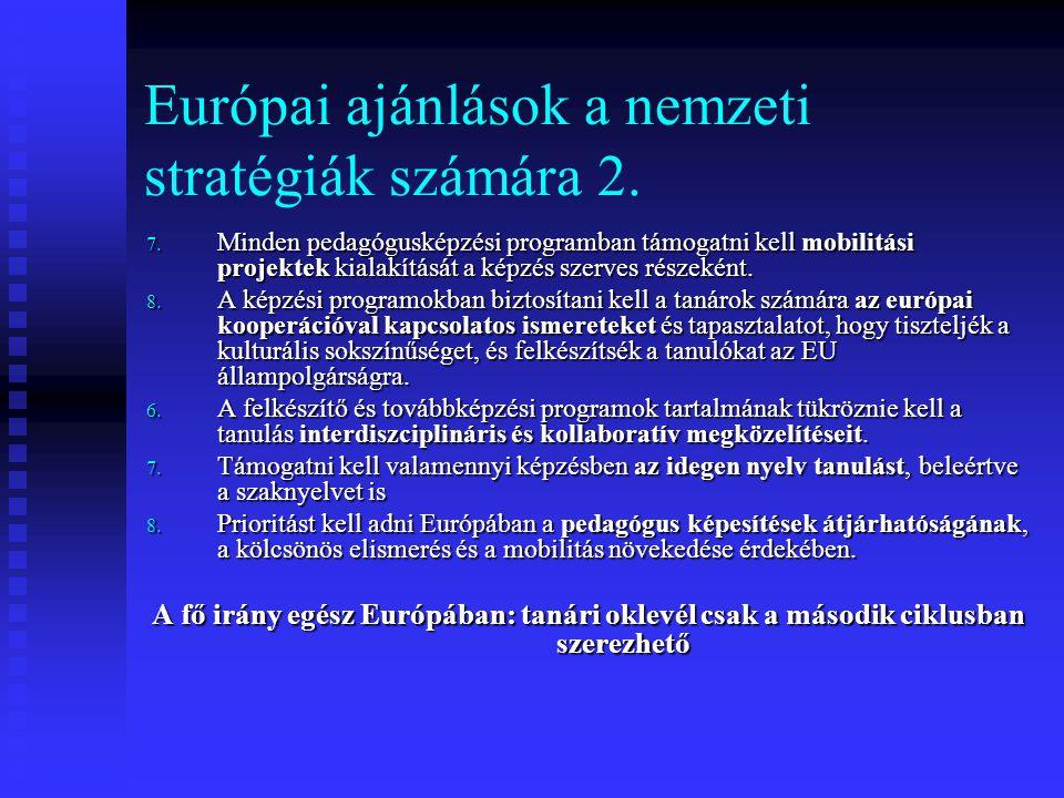 Európai ajánlások a nemzeti stratégiák számára 2.