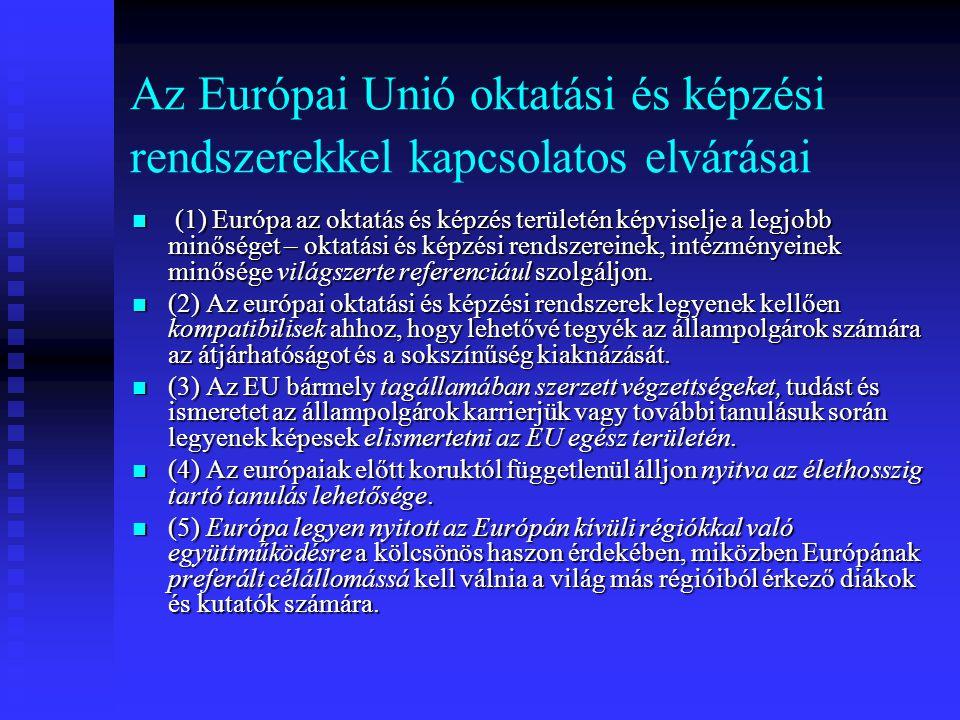 Az Európai Unió oktatási és képzési rendszerekkel kapcsolatos elvárásai