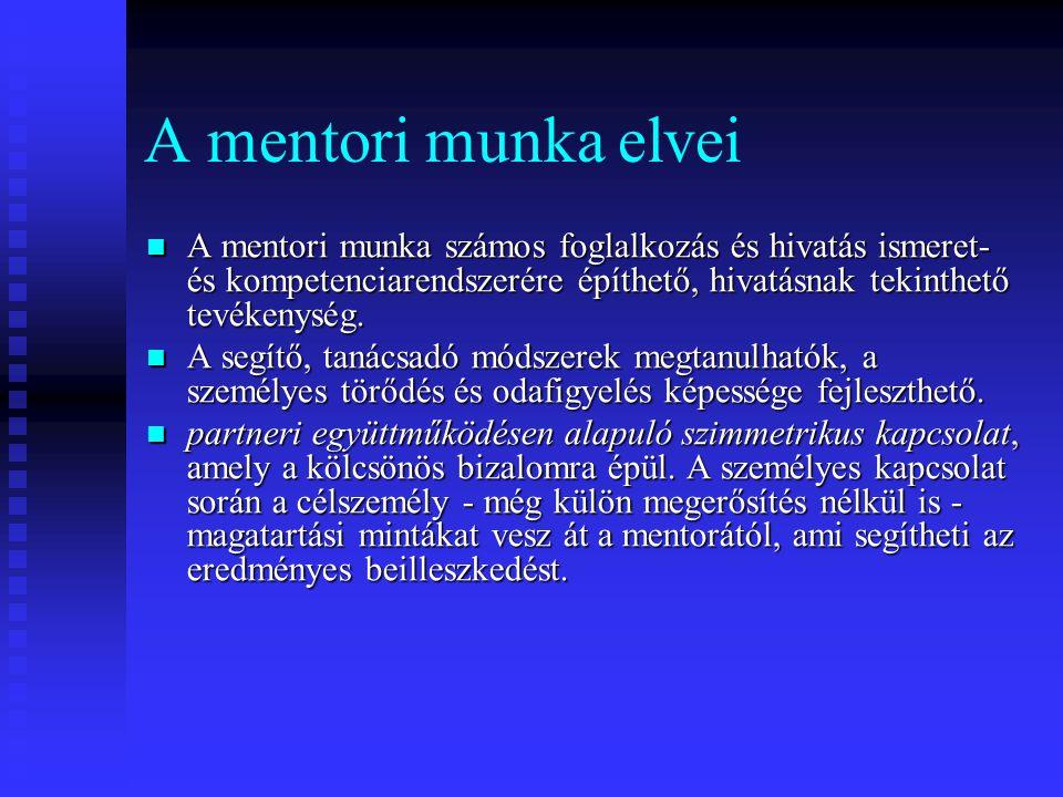 A mentori munka elvei A mentori munka számos foglalkozás és hivatás ismeret- és kompetenciarendszerére építhető, hivatásnak tekinthető tevékenység.