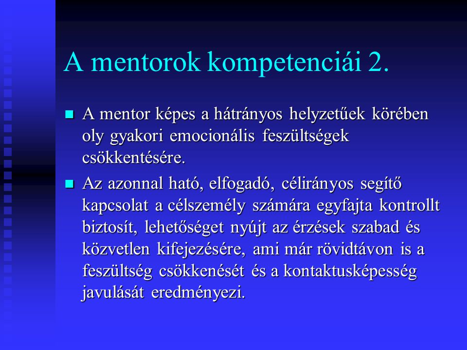 A mentorok kompetenciái 2.