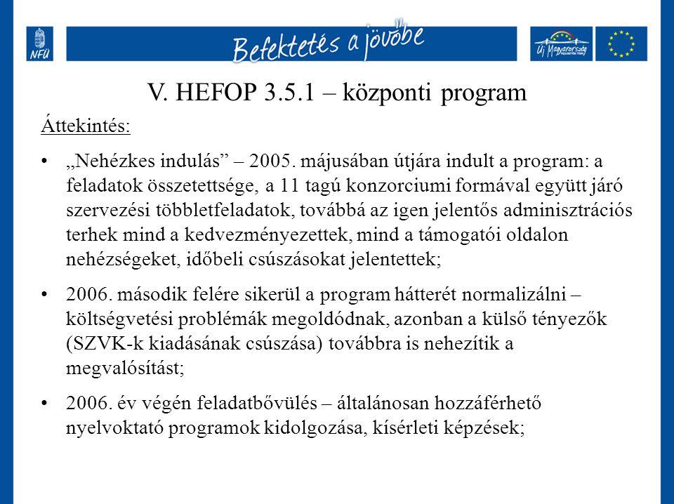 V. HEFOP 3.5.1 – központi program