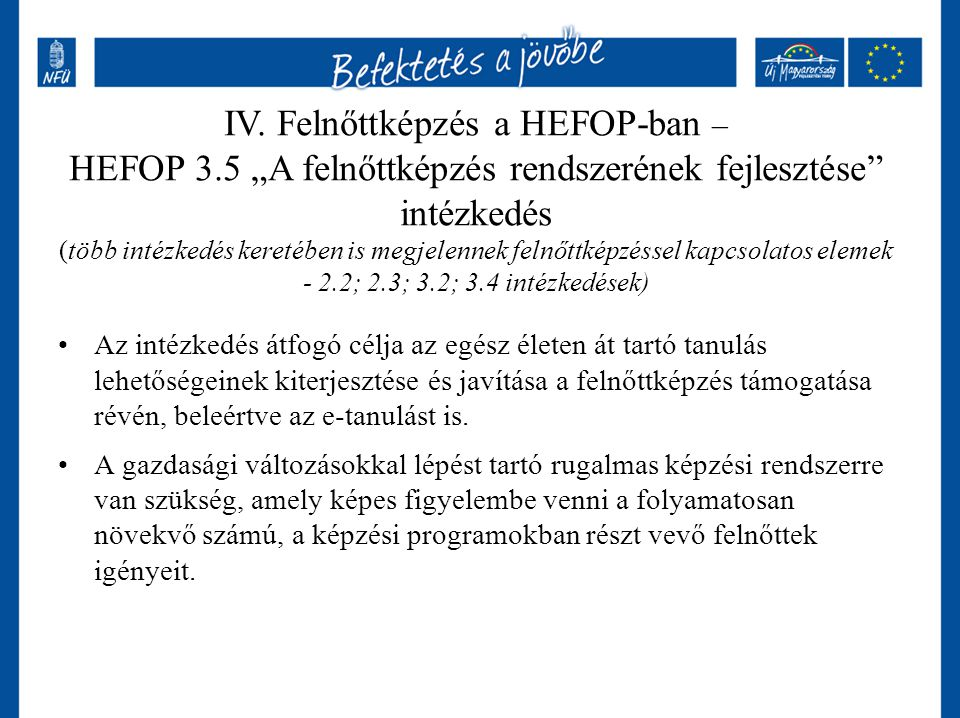 IV. Felnőttképzés a HEFOP-ban –