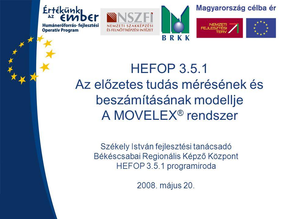 HEFOP 3.5.1 Az előzetes tudás mérésének és beszámításának modellje A MOVELEX® rendszer