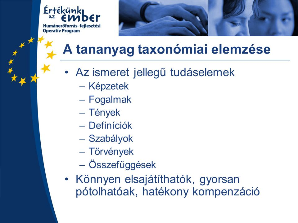 A tananyag taxonómiai elemzése