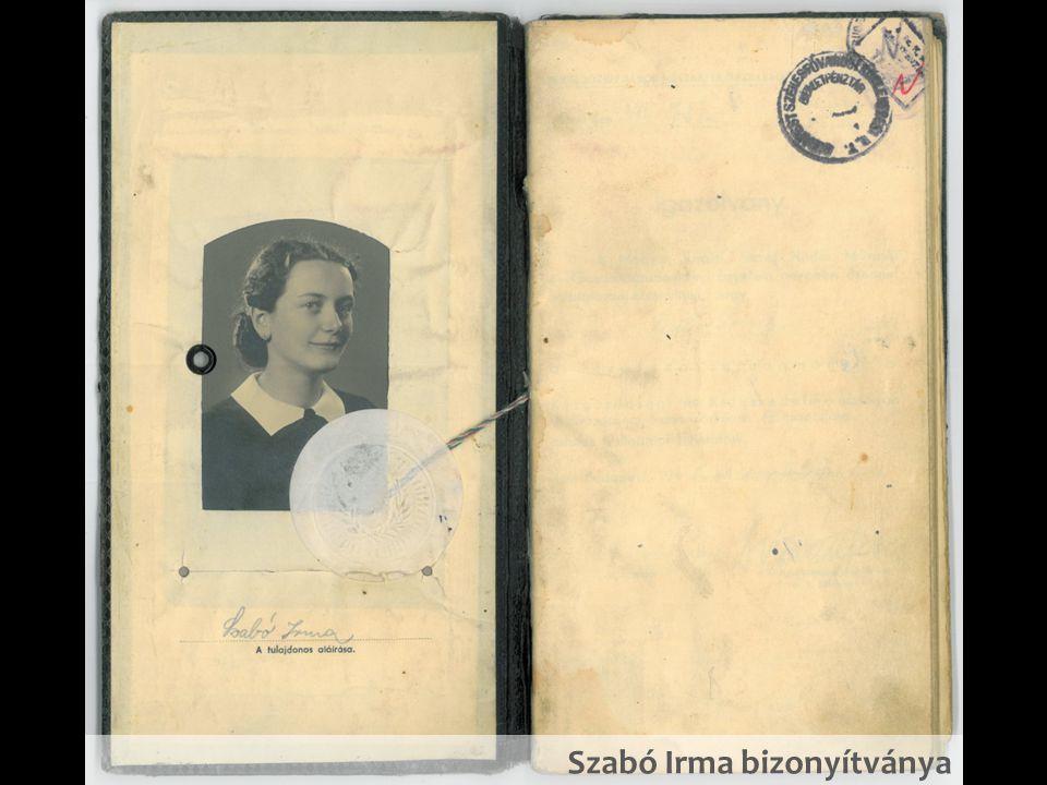 Szabó Irma bizonyítványa
