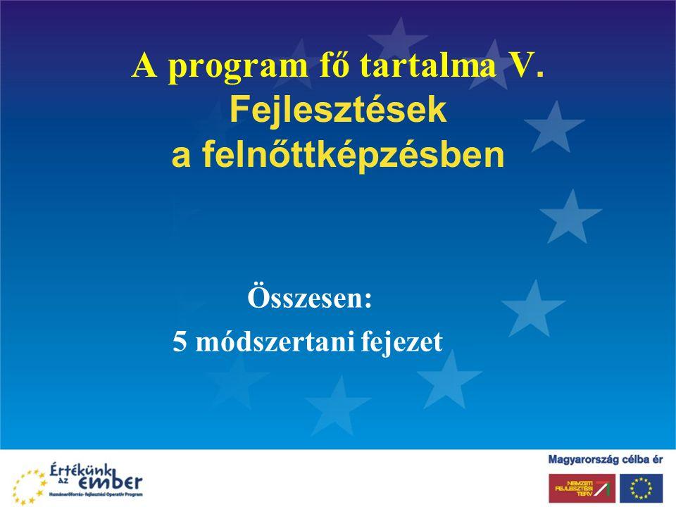 A program fő tartalma V. Fejlesztések a felnőttképzésben
