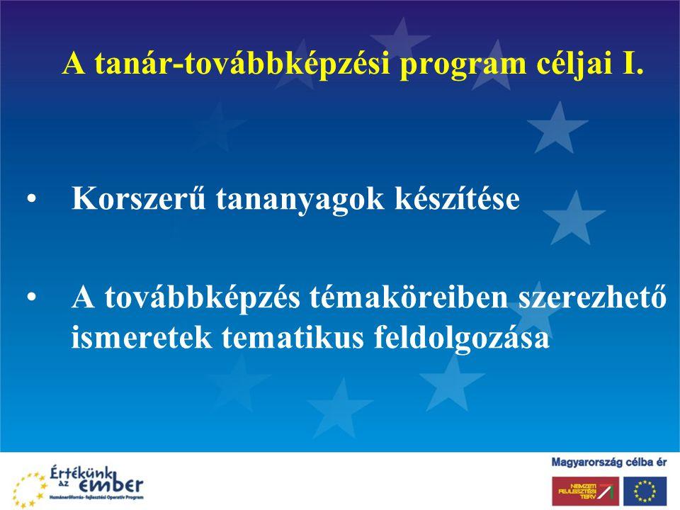 A tanár-továbbképzési program céljai I.